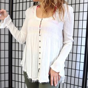 Free People Tops - Free People Distressed Button Down Blouse
